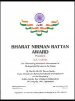 Bharat Nirman Rattan Award Certificate