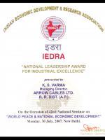 IEDRA Award certificate